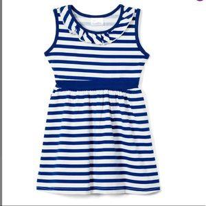 Girls Navy & White stripe Ruffle Yoke Dress
